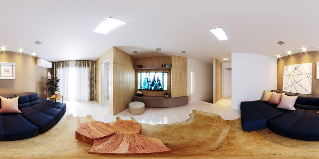 3d sala decorada em 360 graus